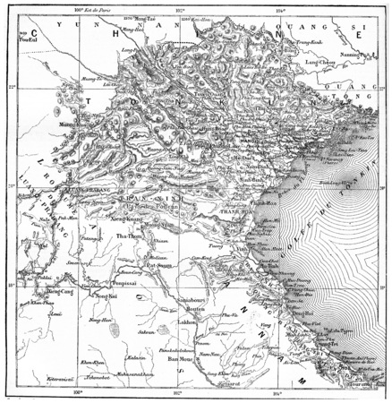 longitude: Map of Tonkin or Tongkin or Tonquin or Tongking, vintage engraved illustration. Dictionary of words and things - Larive and Fleury - 1895.