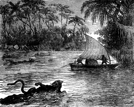 clinging: Clinging to the floating corpse, one of the jaguars. vintage engraved illustration. Journal des Voyages, Travel Journal, (1879-80). Stock Photo