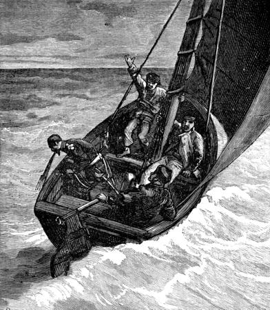 prey: The Ship of prey. The good man was seasick, vintage engraved illustration. Journal des Voyage, Travel Journal, (1879-80). Stock Photo