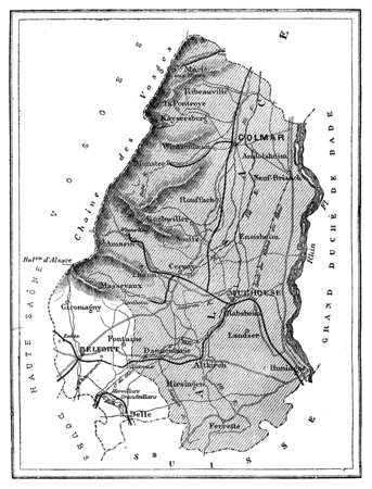 commune: Map of the department of Bas-Rhin, vintage engraved illustration. Journal des Voyage, Travel Journal, (1880-81). Stock Photo