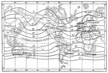 dotted lines: Map of isothermal lines or isotherms of summer, vintage engraved illustration. Dictionary of words and things - Larive and Fleury - 1895.