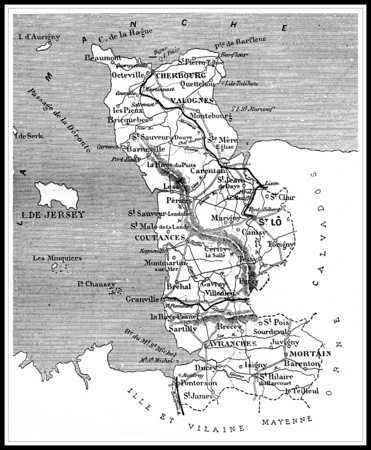 Map of the department of Maine-et-Loire, vintage engraved illustration. Journal des Voyages, Travel Journal, (1879-80). Banco de Imagens