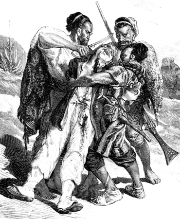 helpless: The Kroumirs. They had cut her nose and ears, vintage engraved illustration. Journal des Voyage, Travel Journal, (1880-81).