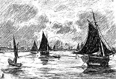 港で夜氏ベレット Posat の後、ヴィンテージの図が刻まれました。ジャーナル デ航海、トラベル ジャーナル、(1879-80)。 写真素材