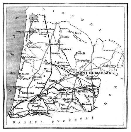 landes: Map of Des Landes department, vintage engraved illustration. Journal des Voyages, Travel Journal, (1879-80).