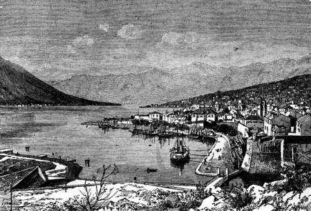 sailing: Montenegro. Mouths of Cattaro, vintage engraved illustration. Journal des Voyages, Travel Journal, (1880-81).