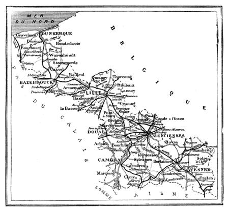 Map of the Northern Department, vintage engraved illustration. Journal des Voyage, Travel Journal, (1879-80).