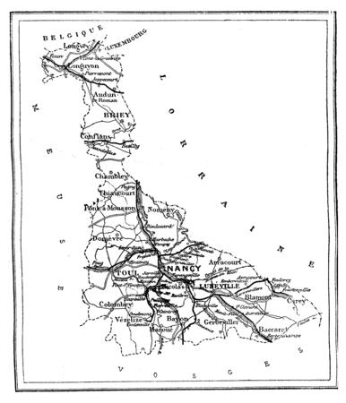 commune: Map of Meurthe-et-Moselle, vintage engraved illustration. Journal des Voyages, Travel Journal, (1879-80).