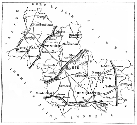 department: Map of the department of Loir-et-cher, vintage engraved illustration. Journal des Voyages, Travel Journal, (1879-80). Stock Photo