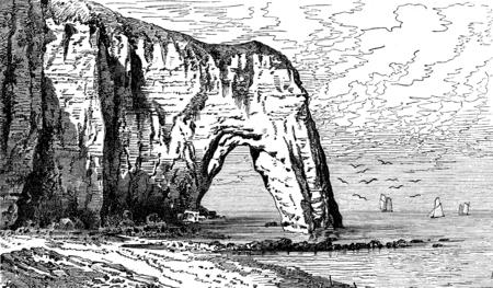cliffs: The breakthrough of Etretat rock, vintage engraved illustration. Journal des Voyages, Travel Journal, (1879-80).