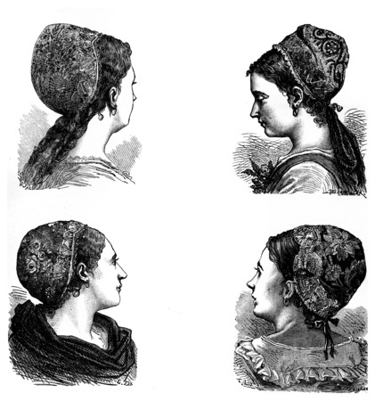 alsatian: Folk Art in Alsace. Caps embroidered Alsatian, vintage engraved illustration. Journal des Voyages, Travel Journal, (1880-81).