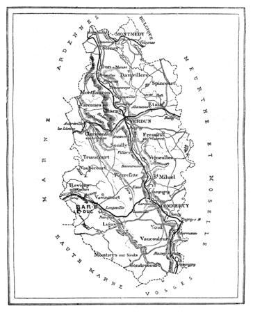 Map of the department of Meuse, vintage engraved illustration. Journal des Voyage, Travel Journal, (1879-80). Banco de Imagens