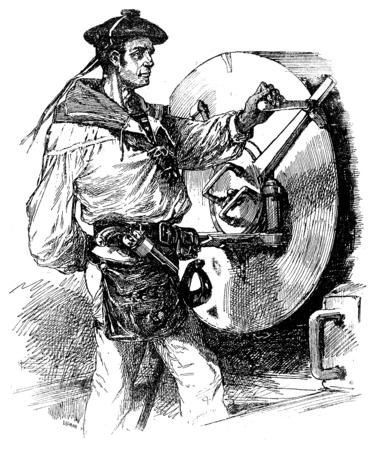 mariner: Gunner Navy, vintage engraved illustration. Journal des Voyages, Travel Journal, (1879-80).