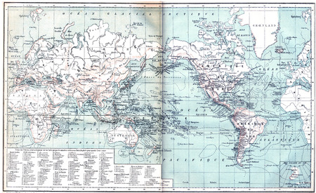 old world: Map showing active volcanoes across Asia, Europe, Africa and Australia, North and South America, vintage engraved illustration. Dictionary of words and things - Larive and Fleury - 1895.