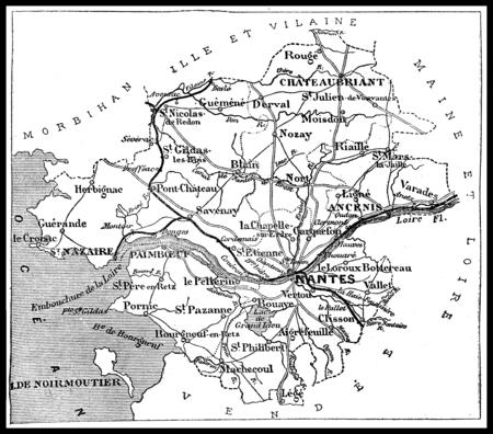 Map of the department of Loire-less, vintage engraved illustration. Journal des Voyages, Travel Journal, (1879-80).