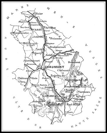 Map of the department of Haute Marne, vintage engraved illustration. Journal des Voyages, Travel Journal, (1879-80). Banco de Imagens