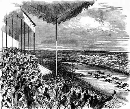old horse: The large stand during a race, vintage engraved illustration. Journal des Voyage, Travel Journal, (1879-80).