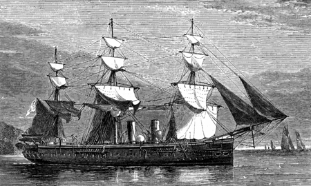 old boat: Life on board. A warship, vintage engraved illustration. Journal des Voyages, Travel Journal, (1879-80).