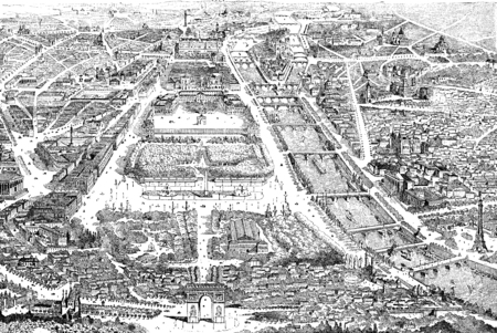 city view: Panorama of paris in 1889, vintage engraved illustration. Dictionary of words and things - Larive and Fleury - 1895. Stock Photo