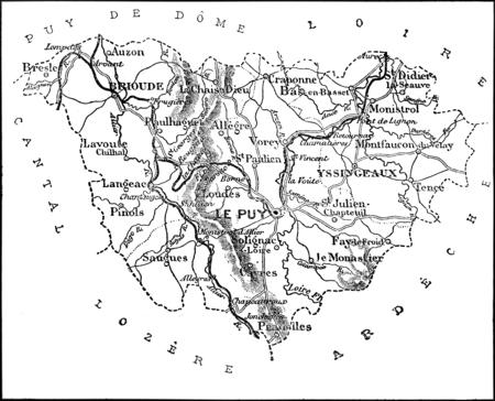 Map of the department of Haute Loire, vintage engraved illustration. Journal des Voyages, Travel Journal, (1879-80).