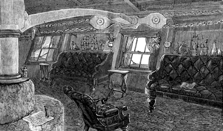 Life on board. The living room of the captain, vintage engraved illustration. Journal des Voyages, Travel Journal, (1879-80).