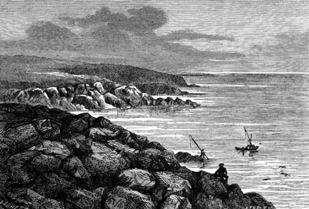The town of Batz. The rocks, vintage engraved illustration. Journal des Voyages, Travel Journal, (1880-81). Stock Photo