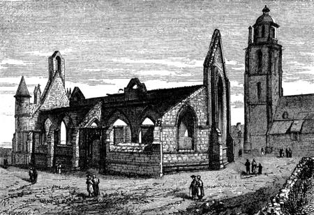 バッツの町。桑、ビンテージの刻まれた図のチャペルの遺跡。ジャーナル デ航海、トラベル ジャーナル、(1880年-81)。