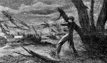 storm damage: A terrible storm. I cling to the branch of a tree, vintage engraved illustration. Journal des Voyages, Travel Journal, (1880-81). Stock Photo