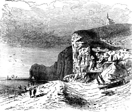 cliffs: The beach of Etretat, vintage engraved illustration. Journal des Voyages, Travel Journal, (1879-80). Stock Photo
