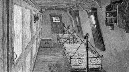 white door: Life on board. Bedroom, vintage engraved illustration. Journal des Voyages, Travel Journal, (1879-80).