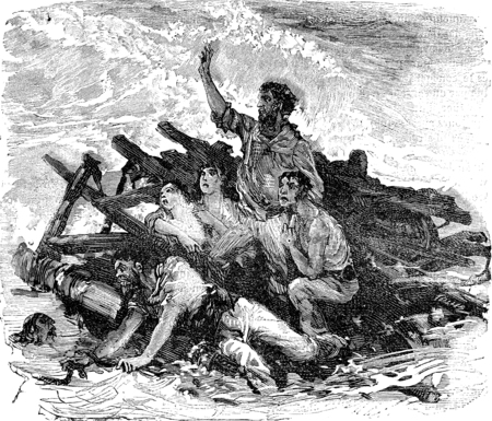 unfortunate: Engraving from the Illustrated History of the great Castaway, vintage engraved illustration. Journal des Voyages, Travel Journal, (1879-80). Stock Photo