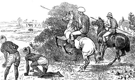 The boar proves short, vintage engraved illustration. Journal des Voyage, Travel Journal, (1880-81).