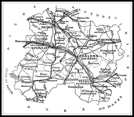 Map of the department of La Marne, vintage engraved illustration. Journal des Voyages, Travel Journal, (1879-80). Banco de Imagens