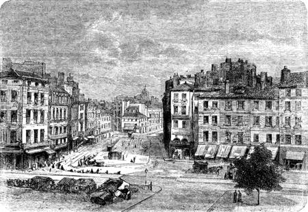 apartment buildings: Peoples Square in Saint-Étienne, vintage engraved illustration. Journal des Voyages, Travel Journal, (1879-80). Stock Photo