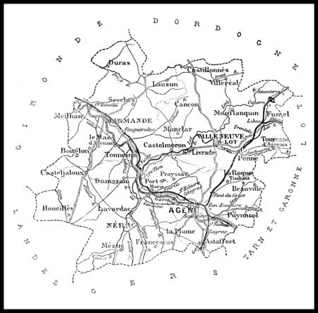 ロット = エ = ガロンヌ県、ヴィンテージの刻まれたイラスト科の地図。ジャーナル デ航海、トラベル ジャーナル、(1879-80)。 写真素材