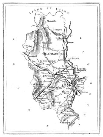 commune: Map of the department of Rhone, vintage engraved illustration. Journal des Voyage, Travel Journal, (1880-81).