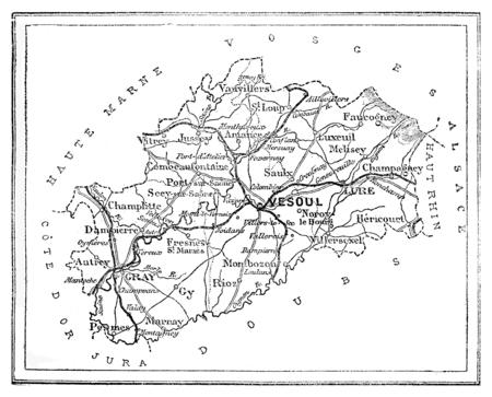 ne: Map of the department of Haute-Saône, vintage engraved illustration. Journal des Voyage, Travel Journal, (1880-81).
