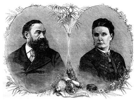 sir: Portraits of Sir Samuel and Lady Baker, vintage engraved illustration. Journal des Voyage, Travel Journal, (1880-81).