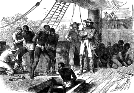 ships: Slavery in Africa. The Treaty, vintage engraved illustration. Journal des Voyage, Travel Journal, (1880-81).