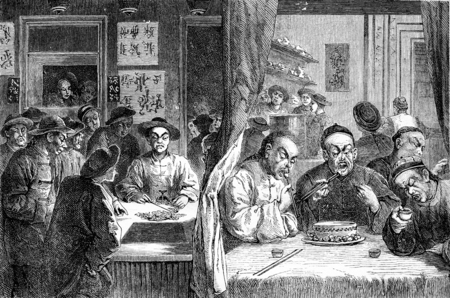 Opium smokers in China, vintage engraved illustration. Journal des Voyage, Travel Journal, (1880-81).