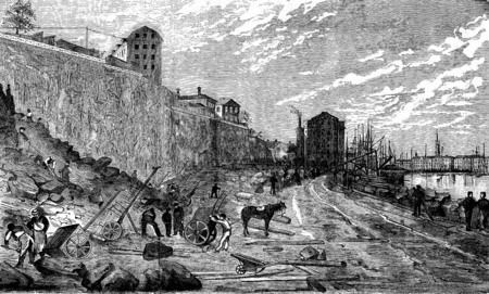 dock: Geographic News. The dock Skeppsbron in Stockholm, the new wharf, vintage engraved illustration. Journal des Voyage, Travel Journal, (1880-81).
