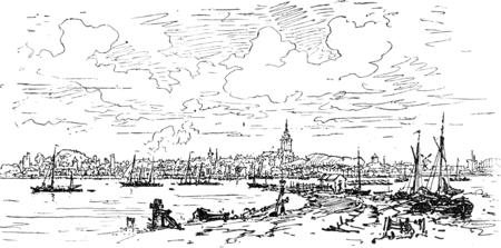 Holland. Algemeen beeld van Nijmegen, vintage gegraveerde illustratie. Journal des Voyage, Travel Journal, (1880-1881). Stockfoto