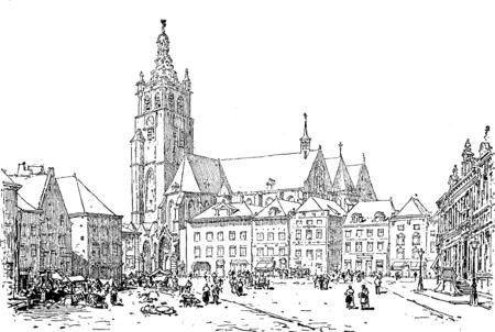 시장 Roermond, 빈티지 새겨진 된 그림입니다. Journal des Voyage, 여행 일지, (1880-81). 스톡 콘텐츠
