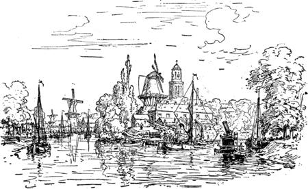 ビュー ズウォレ、ヴィンテージには、図が刻まれています。ジャーナル デ航海、トラベル ジャーナル、(1880-81)。 写真素材