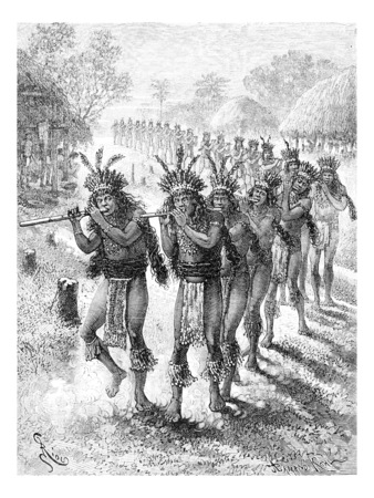 dr: Native Music and Dance in Oiapoque, Brazil, drawing by Riou from a sketch by Dr. Crevaux, vintage engraved illustration. Le Tour du Monde, Travel Journal, 1880