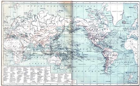 Carte montrant les volcans actifs à travers l'Asie, l'Europe, l'Afrique et l'Australie, du Nord et Amérique du Sud, illustration vintage gravé. Dictionnaire des mots et des choses - Larive et Fleury - 1895. Banque d'images - 42528680