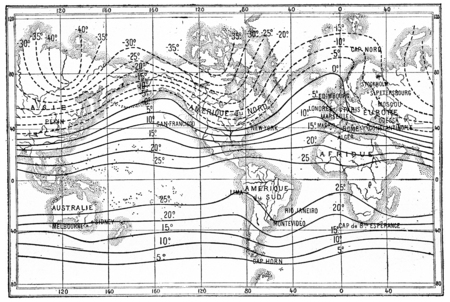 Map of isothermal lines or isothermals of winter,, vintage engraved illustration. Dictionary of words and things - Larive and Fleury - 1895.