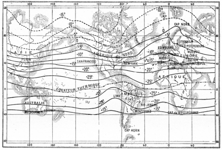 Map of isothermal lines, vintage engraved illustration. Dictionary of words and things - Larive and Fleury - 1895.