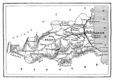 Map of the department of the Eastern Pyrenees, vintage engraved illustration. Journal des Voyage, Travel Journal, (1880-81). Reklamní fotografie