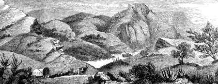 alpine plants: A hunting adventure in America. View of Bears lake, vintage engraved illustration. Journal des Voyages, Travel Journal, (1880-81). Stock Photo